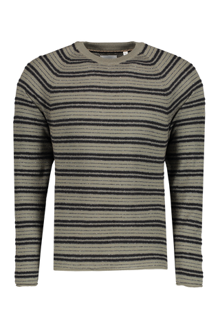 Front view image of Billy Reid Boucle Stripe Crew Olive