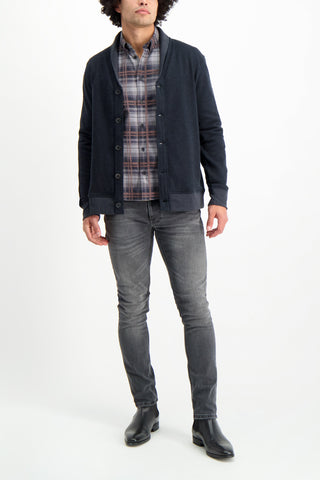 Full Body Image Of Model Wearing Billy Reid Men's Cotton Cashmere Terry Cardigan