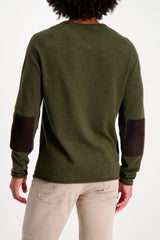Back Crop Image Of Model Wearing Billy Reid Heirloom Saddle Crewneck Olive