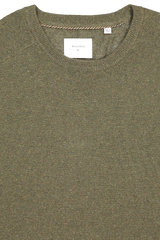 Front collar detail image of Billy Reid Heirloom Saddle Crewneck Olive