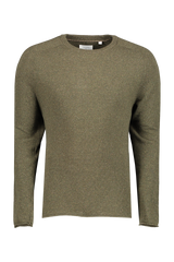 Front view image of Billy Reid Heirloom Saddle Crewneck Olive