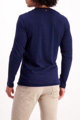 Back Crop Image Of Model Wearing Billy Reid Long Sleeve Louis Henley Navy