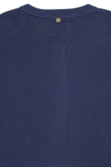 Back collar detail image of Billy Reid Long Sleeve Louis Henley Navy