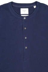 Front collar detail image of Billy Reid Long Sleeve Louis Henley Navy