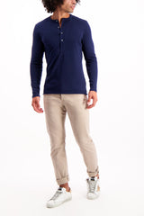 Full Body Image Of Model Wearing Billy Reid Long Sleeve Louis Henley Navy