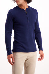 Front Crop Image Of Model Wearing Billy Reid Long Sleeve Louis Henley Navy