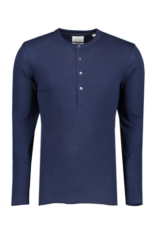 Front view image of Billy Reid Long Sleeve Louis Henley Navy