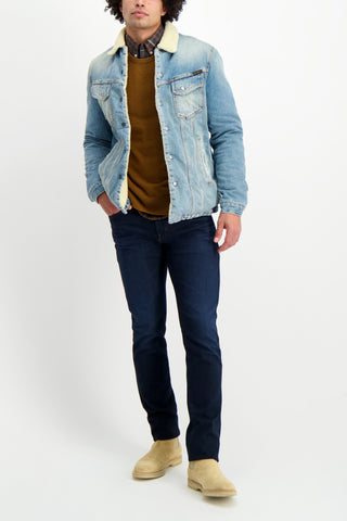 Full Body Image Of Model Wearing Billy Reid Men's Long Sleeve Offset Pocket Shirt