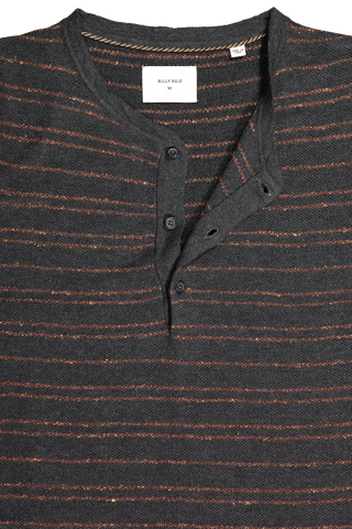 LS STRIPED HENLEY BLACK/RUST