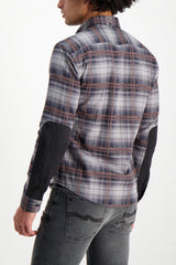 Back Crop Image Of Model Wearing Billy Reid Long Sleeve Taylor Shirt Charcoal/Brown