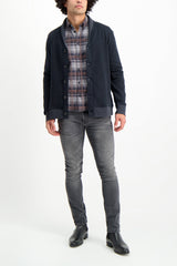 Full Body Image Of Model Wearing Billy Reid Long Sleeve Taylor Shirt Charcoal/Brown