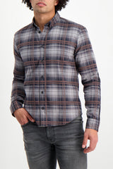 Front Crop Image Of Model Wearing Billy Reid Long Sleeve Taylor Shirt Charcoal/Brown