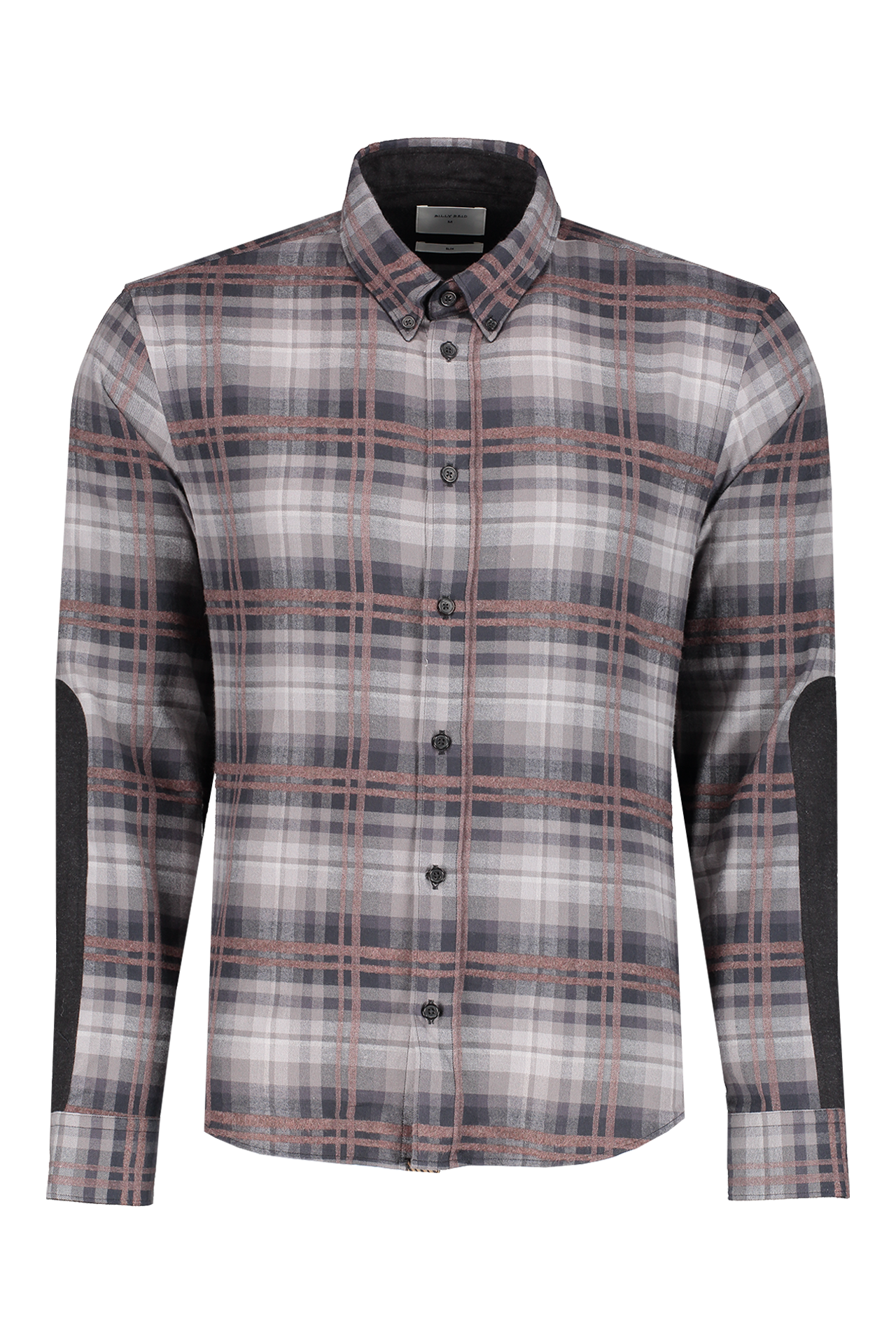 Front view image of Billy Reid Long Sleeve Taylor Shirt Charcoal/Brown
