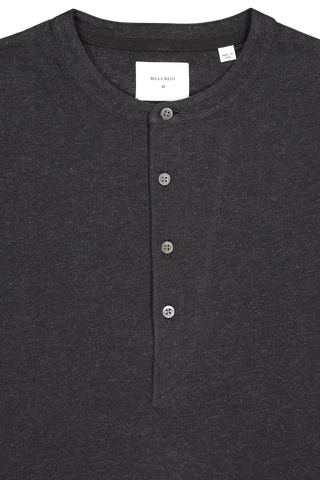 Front collar detail image of Billy Reid Louis Henley Black
