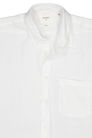 Front collar detail image of Billy Reid Short Sleeve Tuscumbia Button Down Shirt White