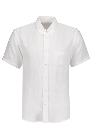 Front image of Billy Reid Short Sleeve Tuscumbia Button Down Shirt White