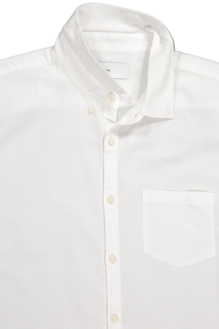 Front collar and pocket detail image of BLDWN Men's Cori Shirt White