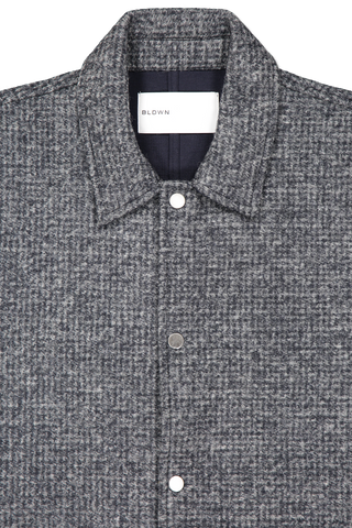 Front collar detail image of BLDWN Men's Dan Shirt Night Blue