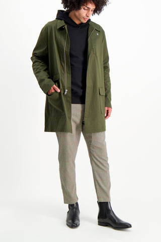 Full Body Image Of Model Wearing Men's Decker Long Jacket