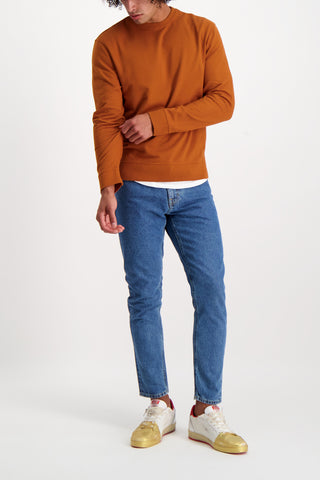 Full Body Image Of Model Wearing Baldwin Haring Crewneck Almond