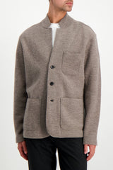 Front Crop Full Body Image of Model Wearing BLDWN Men's Jude Sport Coat Warm Grey