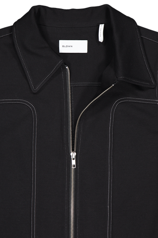Front collar and zipper detail image of BLDWN Women's Layne Jacket Black