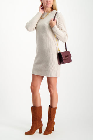 Full Body Image Of Model Wearing BLDWN Micah Sweatshirt Dress