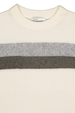 Front collar detail image of BLDWN Women's Odette Crewneck Powder White