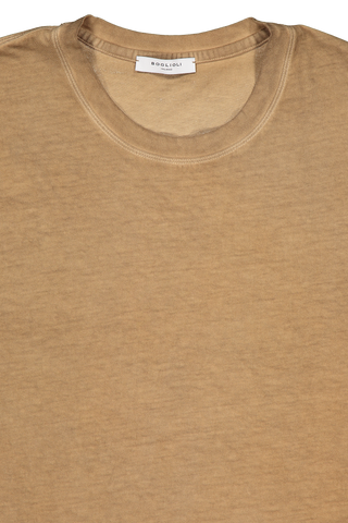 Front collar detail image of Boglioli Cotton T-Shirt Brown