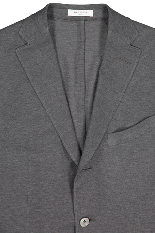 Front collar and lapel detail image of Boglioli Charcoal Cotton Jersey Sport Coat Charcoal