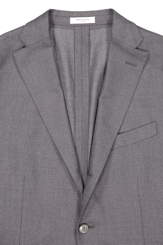 Lapel detail image of Boglioli Charcoal Hopsack K Suit