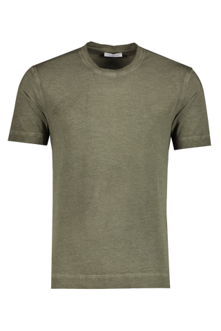 Front view image of Boglioli Cotton T-Shirt Olive