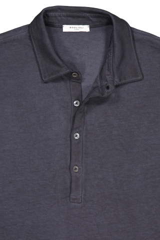 Front collar and button detail image of Boglioli Navy Cotton Short Sleeve Polo Navy
