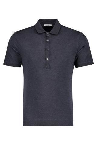 Front view image of Boglioli Navy Cotton Short Sleeve Polo Navy