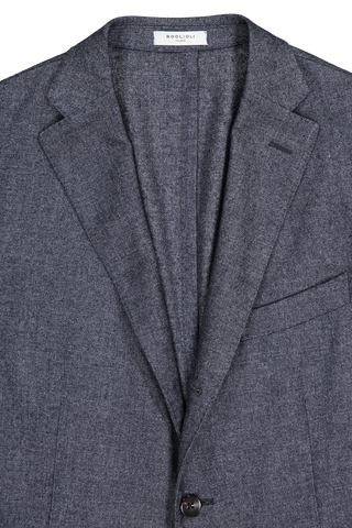 Front collar and lapel detail image of Boglioli Men's Navy Luxe Panama Cashmere K Jacket