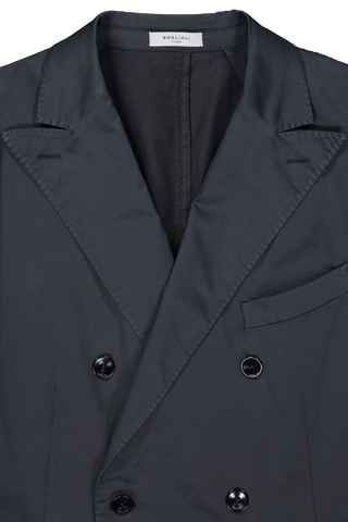Front collar detail image of Boglioli Navy Satin Double Breasted Sport Coat