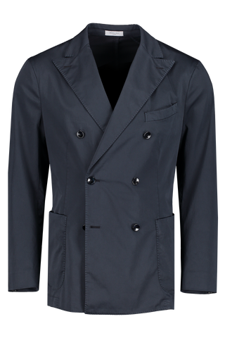 Front view image of Boglioli Navy Satin Double Breasted Sport Coat