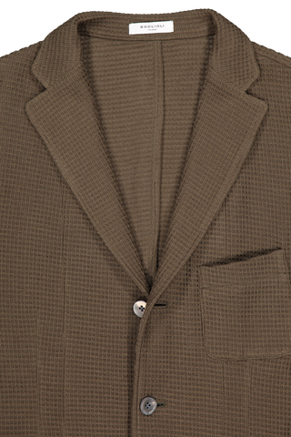 Front collar and lapel detail image of Boglioli Cotton Knit Jersey Shirt Olive