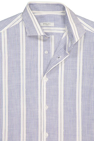 Neck Detail Stripe Long Sleeve Woven White Blue
