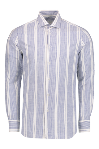 Front Image Stripe Long Sleeve Woven White Blue