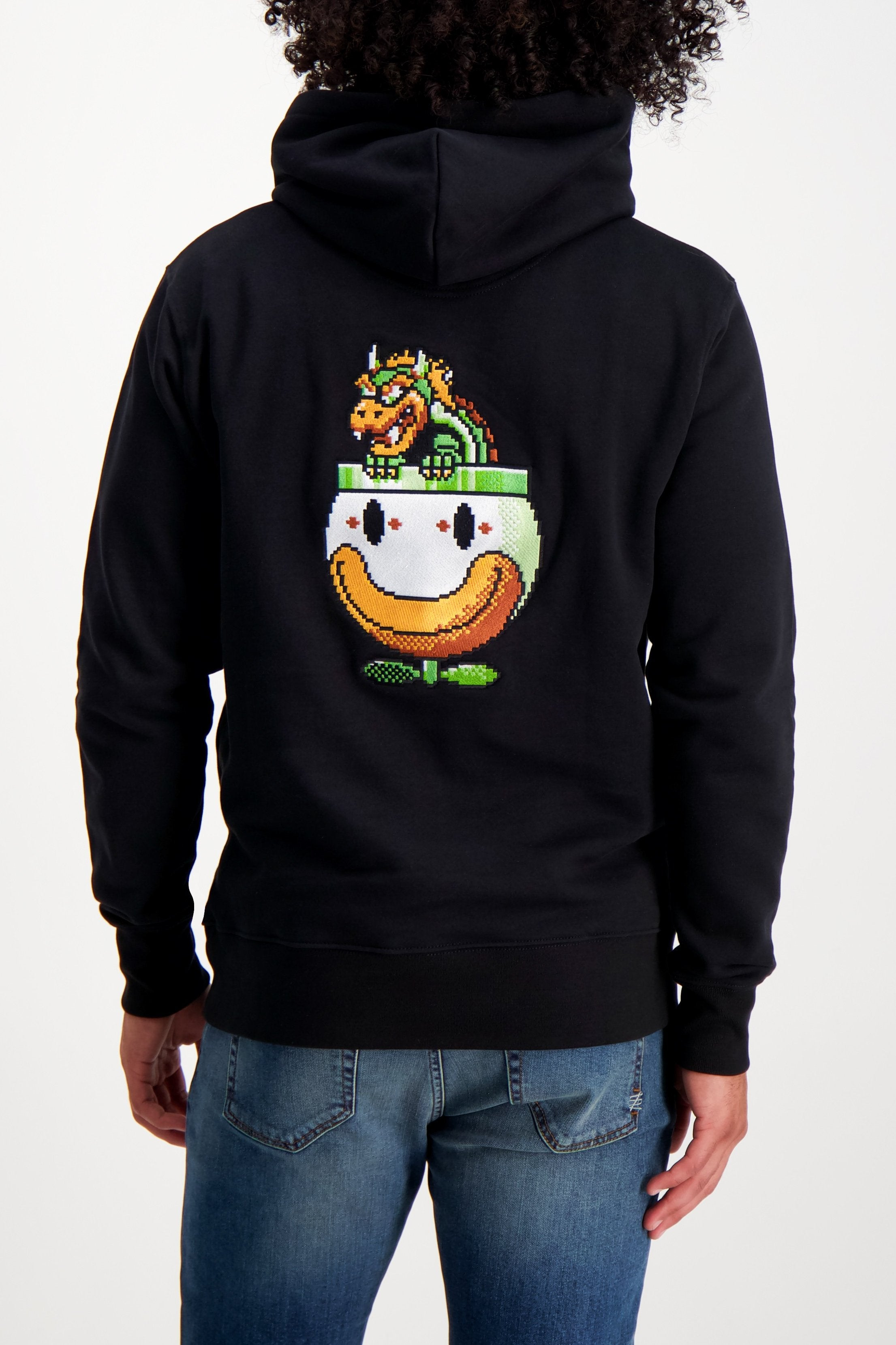 Back Crop Image Of Model Wearing Bricktown Bowser Hoodie