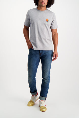 Full Body Image Of Model Wearing Bricktown Green Turtle T-Shirt