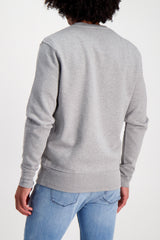 Back Crop Image Of Model Wearing Bricktown Luigi Sweatshirt Heather Grey