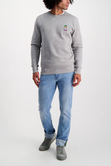 Full Body Image Of Model Wearing Bricktown Luigi Sweatshirt Heather Grey