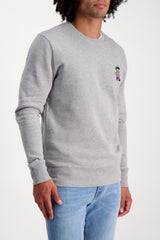 Front Crop Image Of Model Wearing Bricktown Luigi Sweatshirt Heather Grey
