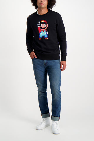 Full Body Image Of Model Wearing Bricktown Mario Peace Sweatshirt