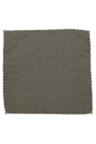 Solid Wool Pocket Square In Miltare