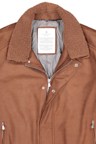Collar and zipper detail image of Brunello Cucinelli Men's Bisonte Leather Jacket