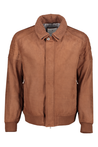 Front image of Brunello Cucinelli Men's Bisonte Leather Jacket
