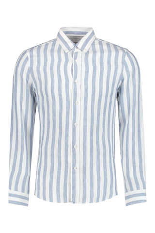 Front view image of Brunello Cucinelli White And Blue Stripe Shirt White/Blue